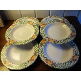 6 assiettes creuses service Treillis Stone Ware